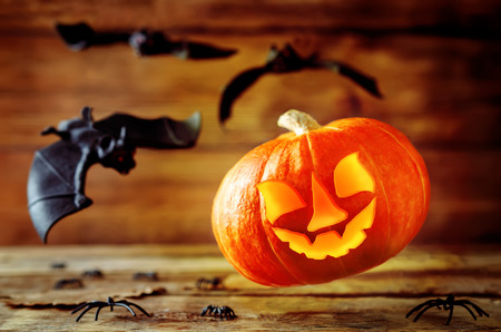 Flying glowing pumpkin with bats on dark wood background. Halloween concept. Toning. Selective focus