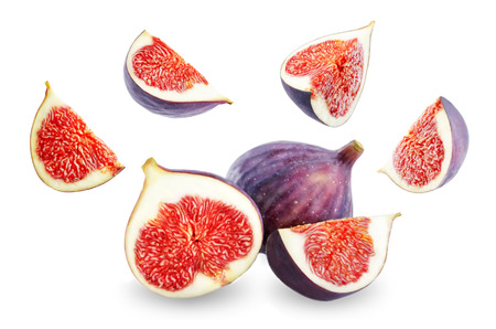 Fresh flying Figs fruits on a white background. toning. selective focus Reklamní fotografie - 115491612