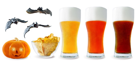 Beer list: light, red and dark beers with corn chips, pumpkin and bats isolated. Halloween concept
