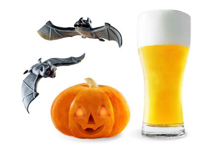 Beer list: light beer with pumpkin and bats isolated. Halloween concept