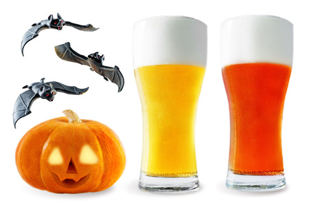 Beer list: light and red beer with pumpkin and bats isolated. Halloween concept