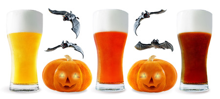 Beer list: light, red and dark beer with pumpkin and bats isolated. Halloween concept