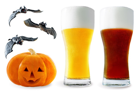 Beer list: light and dark beer with pumpkin and bats isolated. Halloween concept