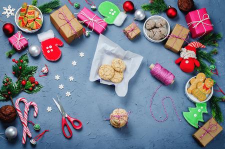 Christmas  with gifts, cookies, Christmas decoration and christmas balls Stock Photo