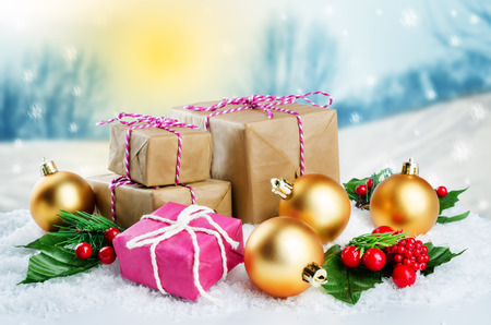Christmas winter background with gifts and colored balls. Christmas background concept