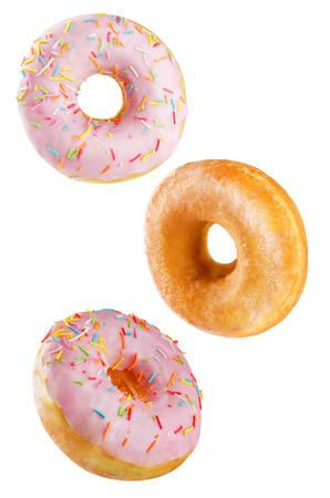 Donuts sobre un fondo blanco. viraje. enfoque selectivo