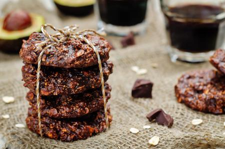 Vegan avocado cashew butter oats chocolate cookies. Reklamní fotografie