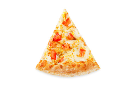 Pizza with cheese, chicken and fresh tomato slices isolated. toning. selective focus 스톡 콘텐츠