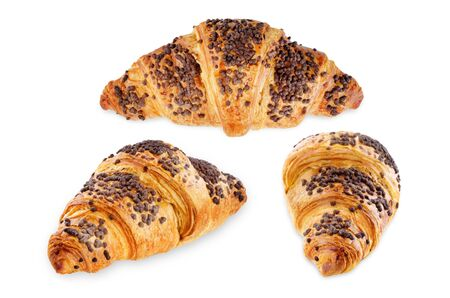 Chocolate croissants with chocolate sprinkles isolated. toning. selective focus 版權商用圖片