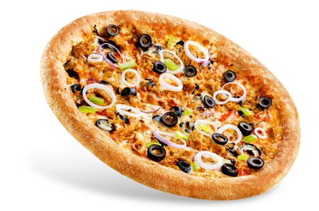 Pizza with tuna, olives, green pepper and red onion isolated. toning. selective focus