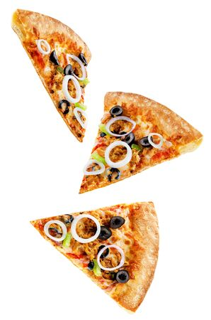 Pizza with tuna, olives, green pepper and red onion isolated. toning. selective focus 免版税图像 - 125825211