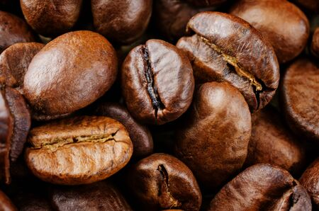 Coffee beans  background. Selective focus