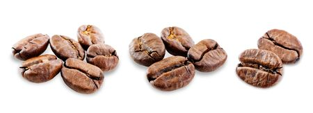 Coffee beans on a white background.  selective focus Фото со стока