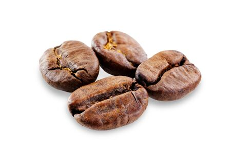 Coffee beans on a white background. selective focus