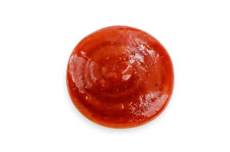 Drop of salsa sauce on a white background. toning. selective focus