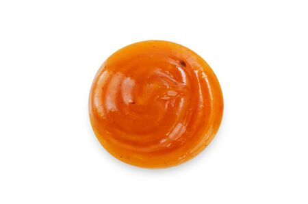 Drop of sweet and sour sauce on a white background. toning. selective focus