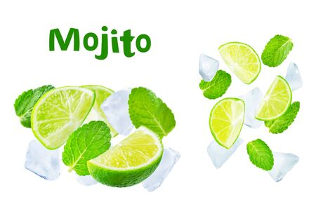 Flying Limes with ices and mint leaves on a white background.