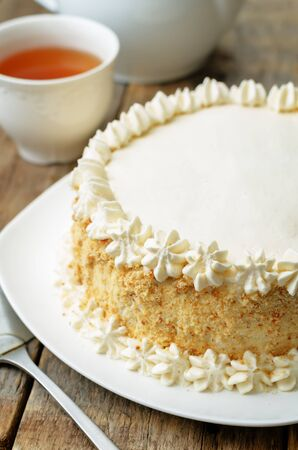 Sponge cake with butter cream. toning. selective focus