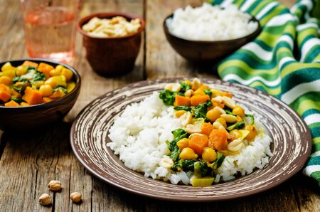 Sweet potato spinach chickpea curry with rice. toning. selective focus Stok Fotoğraf