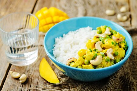 Mango chicken coconut curry with rice. toning. selective focus 免版税图像