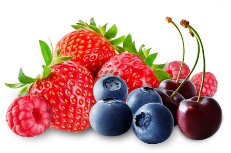 Strawberry, blueberry, cherry, raspberry on a white isolated background. toning. selective focus
