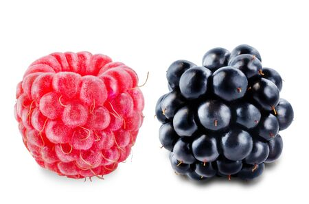 Raspberry and blackberry on a white isolated background. toning. selective focus 免版税图像