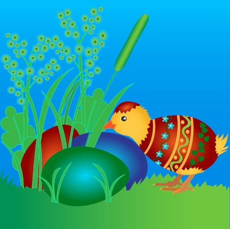 Newborn chicken in a cracked colored easter egg Stock Vector - 19230081