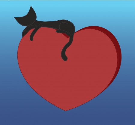 Black slim cat resting on top of the red heart Illustration