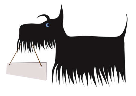 Scottish terrier bearing a board