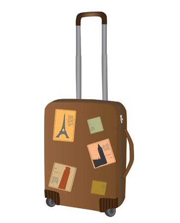 Brown travel bag with stickers of different countries