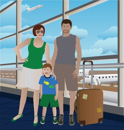 people traveling: Family couple with a child waiting for flight departure in the airport Illustration