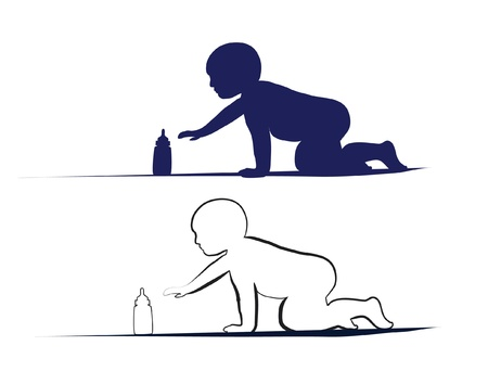 Baby-crowling, um die Flasche zu erreichen