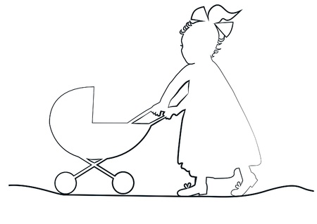 baby girl in a long dress with a ribbon pulls toy pram Illustration