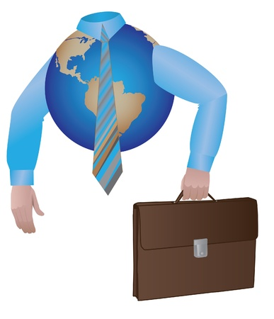 Business globe dressed in shirt and tie with case