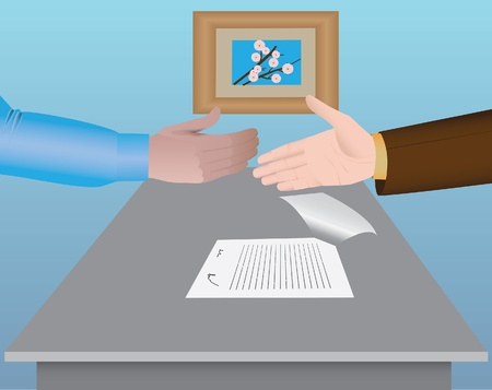 shaking hands over a signed agreement at the table in a meeting room Stock Vector - 19230091