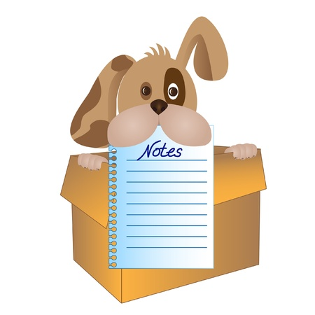 dog looking out from the box holding a notepad page in his jaws Illustration