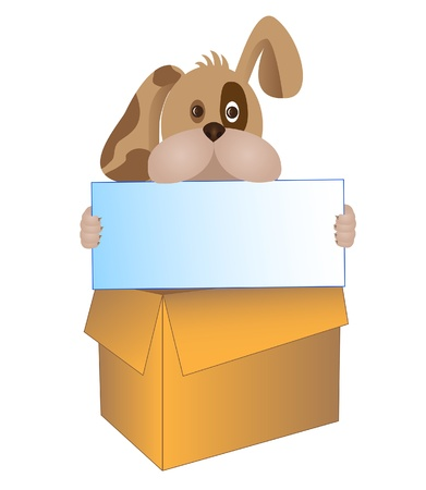 dog looking out from the box holding a table in his jaws Vector