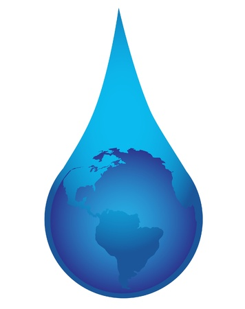 conceptual illustration of globe in drop of water Stock Vector - 19726256