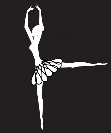 Silhouette of slim ballerina in a tutu dancing on a black background