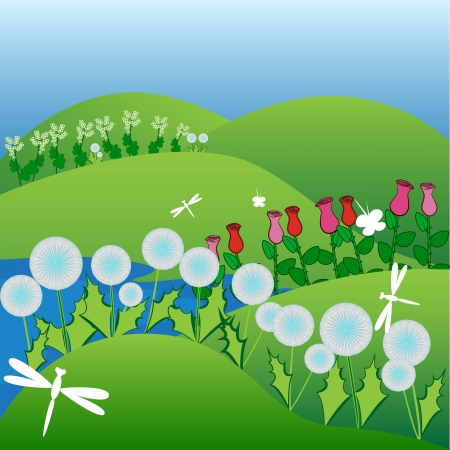 Summer time spending on a green field of dandelions and roses with butterflies and dragonflies flying among flowers