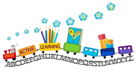 カラフルな列車の幸せの笑みを浮かべて子供とカラフルな鉛筆、ブロック、ABC 本、就学前の能動的学習のための番号を再生