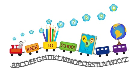 All rainbow colors train with ABC railway, globe, numbers and colored pencils driven by a happy kid symbolizing back to school theme Stock Vector - 21650906
