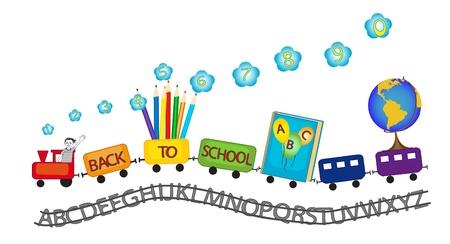 runaway: Todos los colores del arco iris en tren con ABC tren, globo, n�meros y l�pices de colores conducido por un ni�o feliz simboliza nuevo al tema de la escuela