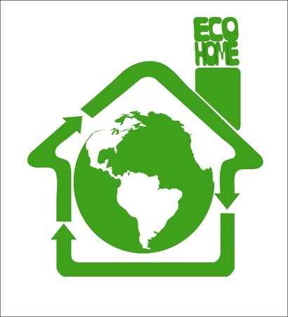 Green recycle arrows composing a house symbolize ecologically clean home framing the earth globe