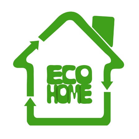 plight: Eco oriented home composed of symbols of recycle sign meaning green solutions Illustration