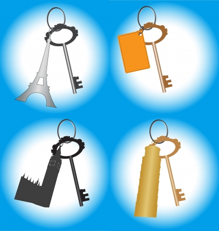 Set of keys in batch with sightseeing places of countries  Eifel tower, Pisa tower, Big Ben