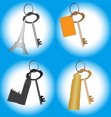 アイフェルの国の観光場所とバッチのキーのセット タワー、ペトロナス ツイン タワー、ビッグ ・ ベン