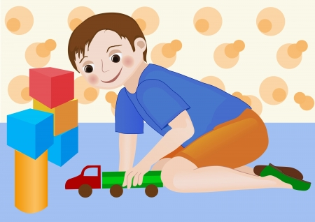 Kid boy involved in playing with his favourite toy truck surrounded with other toys in kids room Illustration
