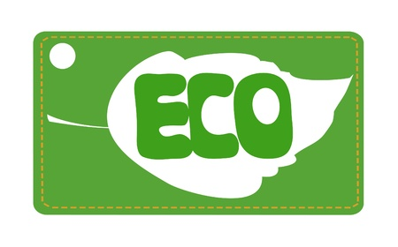 Ecology oriented label with leaf and ECO sign on green background