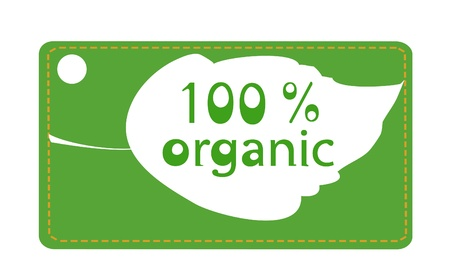 Green label with leaf marking 100  organic products Vector